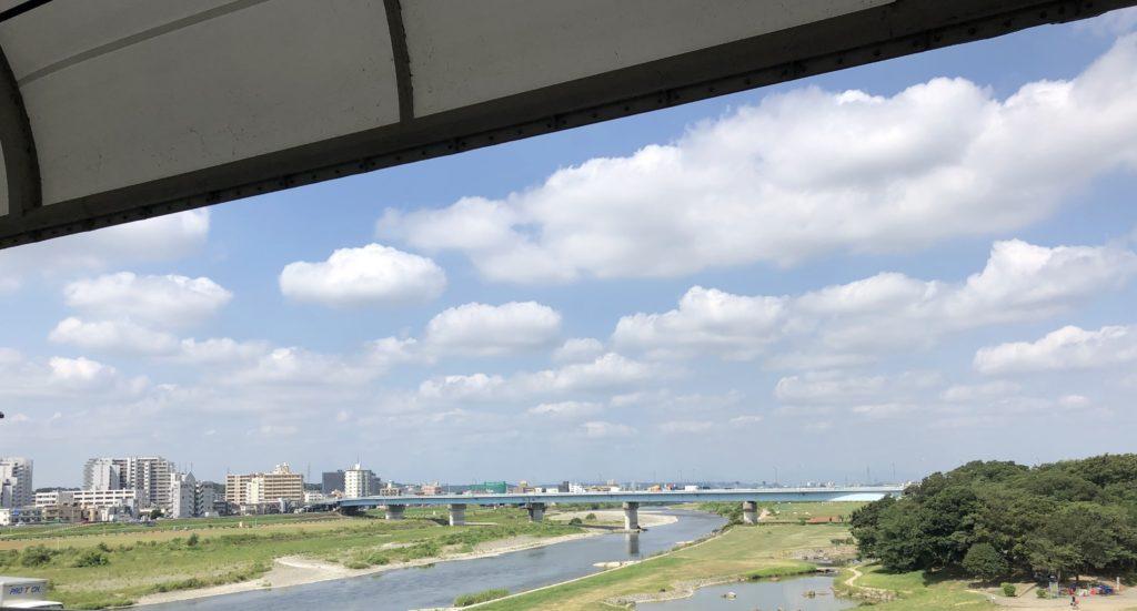 二子玉川駅から見た多摩川上流